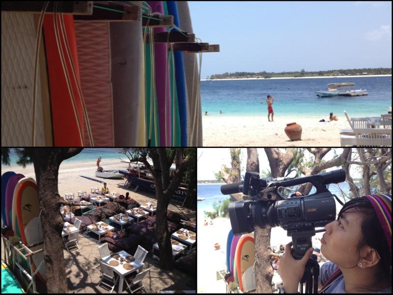 Keterangan : 1. Papan surfing menanti para wisatawan menggunakannya 2. Tempat makan dan nongkrong yang asyik 3. Nike terus mengambil gambar dari berbagai angle, luar biasa