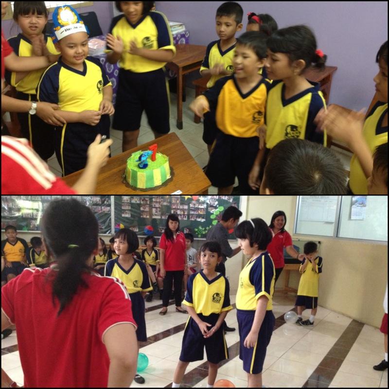 Keterangan : 1. Foto atas : saat merayakan ulang tahun teman sekelasnya 2. Foto bawah : saat mengikuti lomba 17 an di sekolah