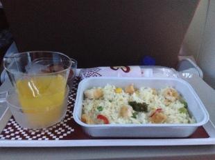 Sarapan pagi di pesawat