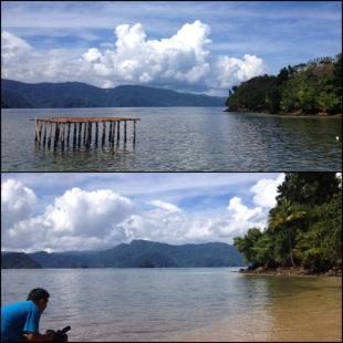 KET : Atas : pemandangan dari jembatan sinyal Bawah : Faizal syuting
